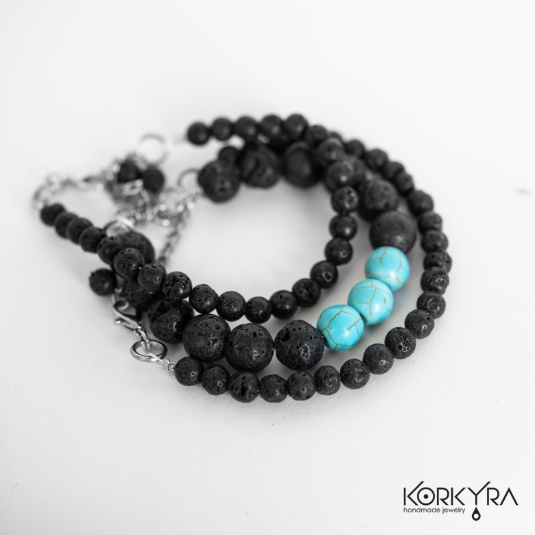 NR340 - BLACK LAVA STONE AND TURQUOISE SET