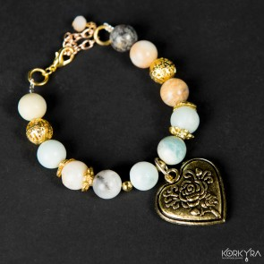 NR630 - AMAZONITE AND HEART SHAPED PENDANT